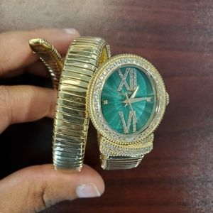 Judith Ripka Tubogas Gold-Tone Green Womens Watch